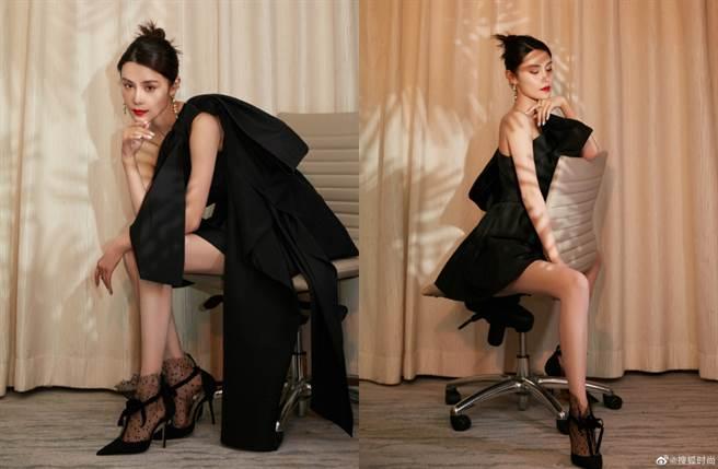韓丹桐近年頻頻受邀亮相時尚活動,近日則穿出一套浮誇禮服大秀驚人的長腿。(圖/摘自微博@搜狐时尚)