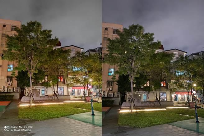 紅米Note 9 Pro(左)對比iPhone 11 Pro Max的夜間實拍(3)。(黃慧雯攝)