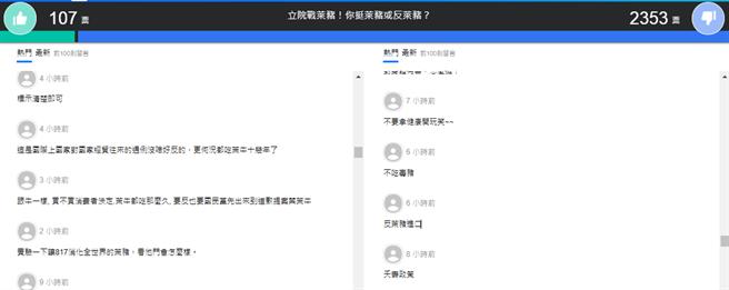 Yahoo24日舉行網路投票「立院戰萊豬!你挺萊豬或反萊豬?」。(圖/翻攝自 yahoo投票網站)