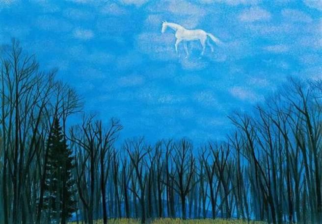 新華社文章內的配圖,畫上一朵「馬形狀的雲」。(名家畫廊  東山魁夷、翻攝新華社)