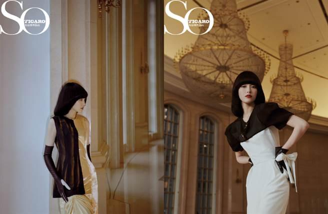唐嫣換上黑白撞色裙演繹摩登女郎的風格。(圖/摘自微博@SoFigaro中文版)