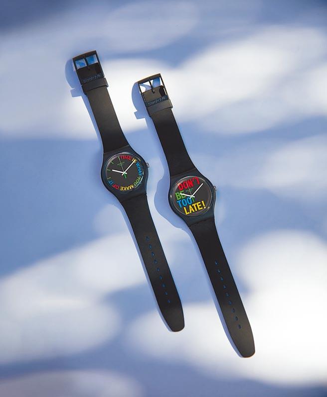 SWATCH推出1983復刻經典系列腕表,表身採用生物基材質,可自然分解、不會造成地球負擔,2500元。(SWATCH提供)