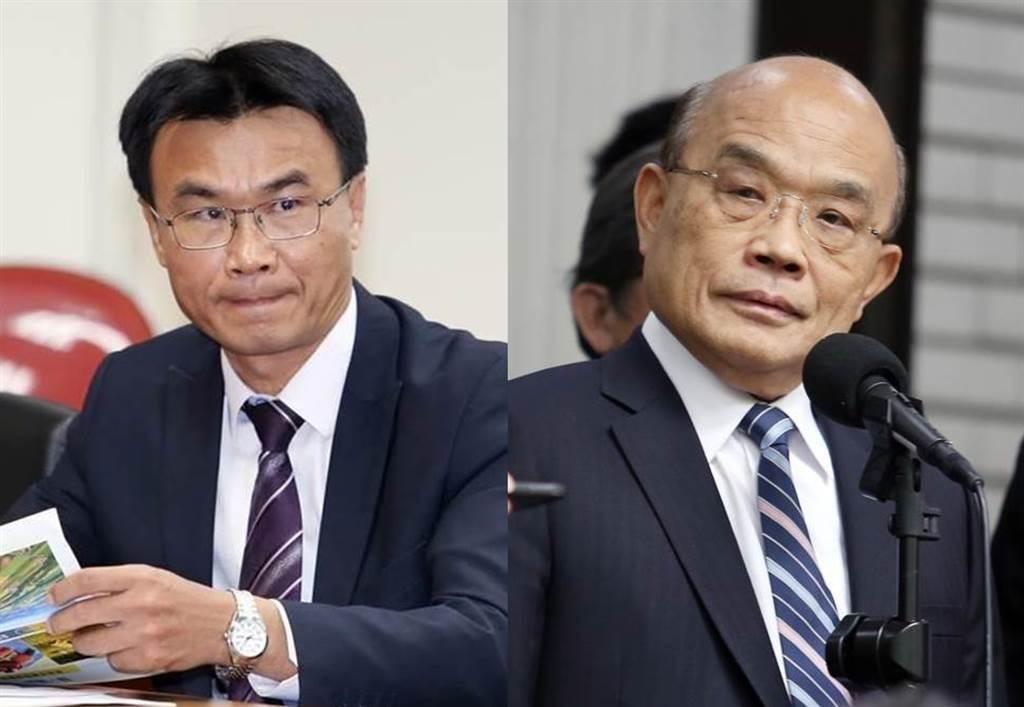 行政院長蘇貞昌透露,農委會主委陳吉仲(左)昔為幫父還債,「可憐出去吃一頓像樣的餐點都沒有辦法」。(合成圖/資料照)