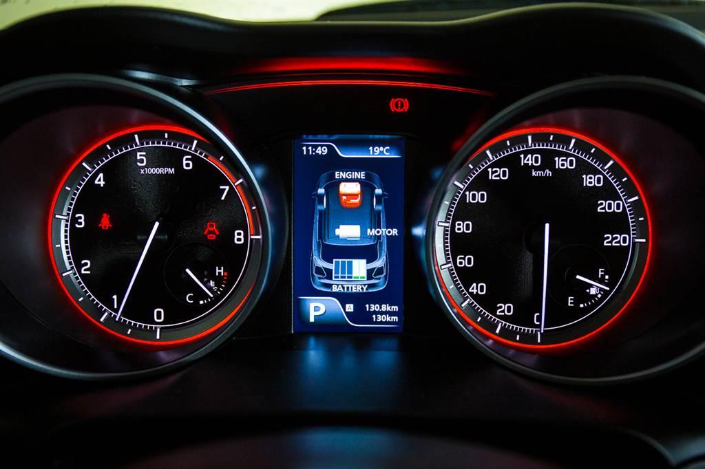 儀表板中央的4.2吋資訊幕改為彩色顯示,並且具備Hybrid系統狀態顯示。