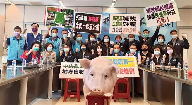 台中市議會國民黨團執行長吳瓊華28日率領黨籍議員舉行「反萊豬、拼公投、護健康」記者會;宣示守護下一代健康、捍衛市民食安的決心。(陳世宗攝)