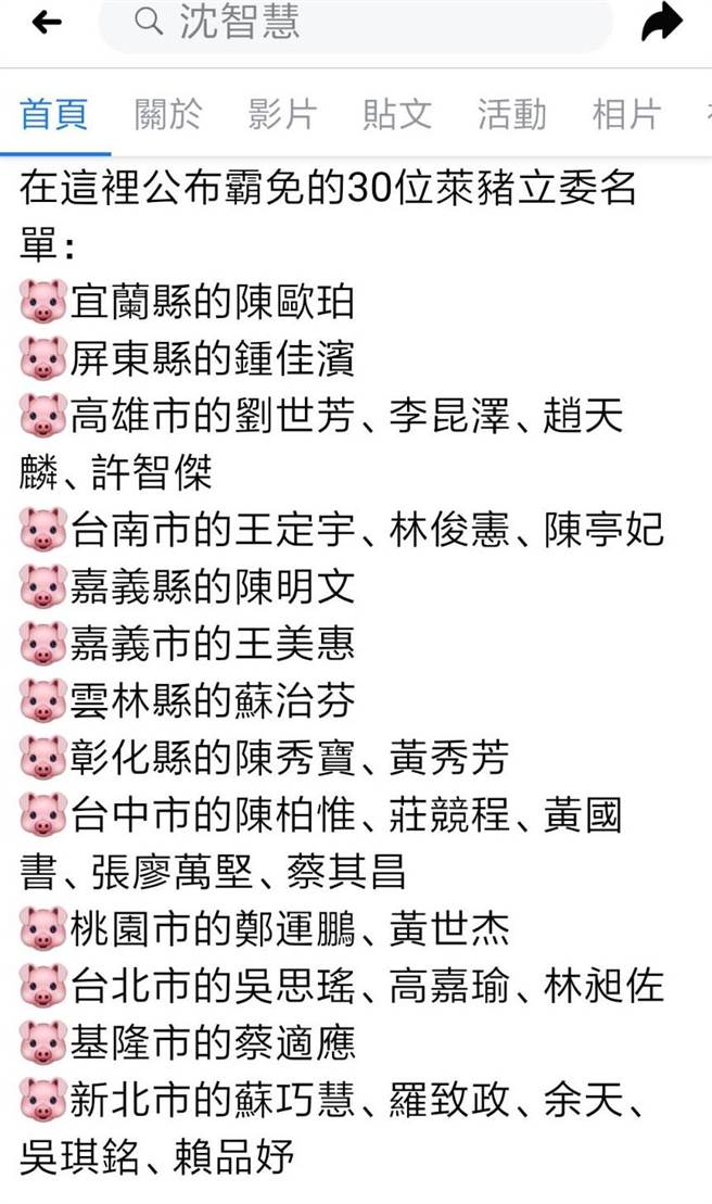 「反萊豬」野薑花運動發起人沈智慧於於個人臉書粉專公布30位「萊委名單」。(摘自沈智慧臉書粉專)