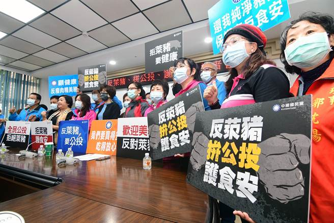 國民黨台東縣議會黨團今天上午在全台22縣市議會同步辦「反萊豬、拚公投、 護食安」記者會。(莊哲權攝)