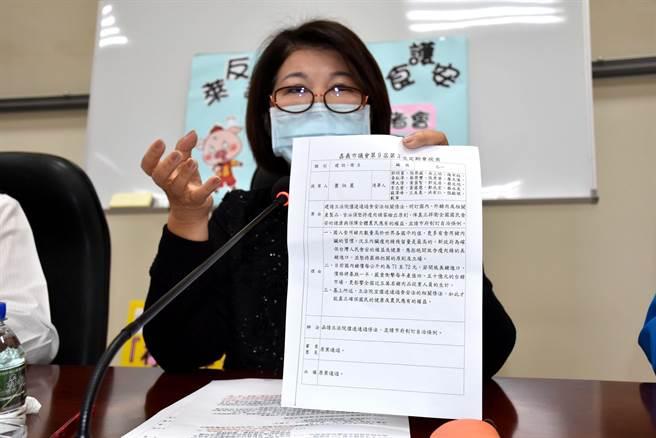 國民黨嘉義市議員張秀華說,市議會在2016年5月就通過瘦肉精零檢出的自治條例。(呂妍庭攝)