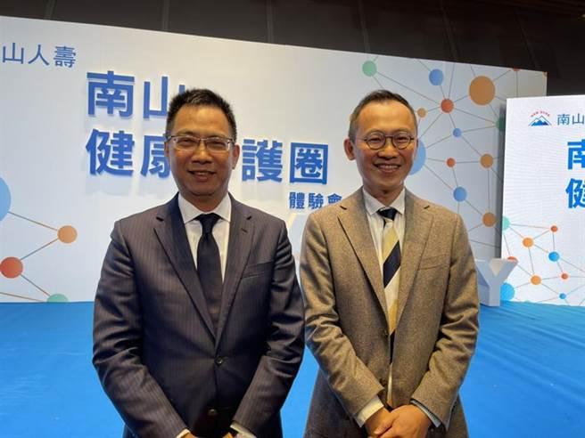 南山人壽總經理范文偉(左)與副總陳維新(右)宣布2021年將是南山人壽健康守護圈的大爆發年。圖/彭禎伶攝