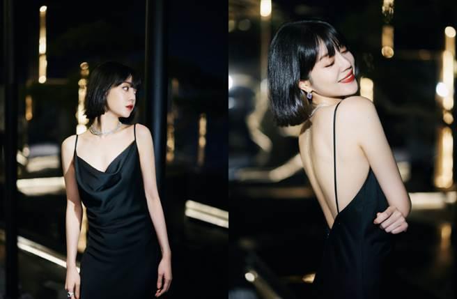 李溪芮近日選穿一套性感的 Mofiel 黑色吊帶長裙現身2020瑞麗時尚盛典活動。(圖/摘自微博@李溪芮工作室)