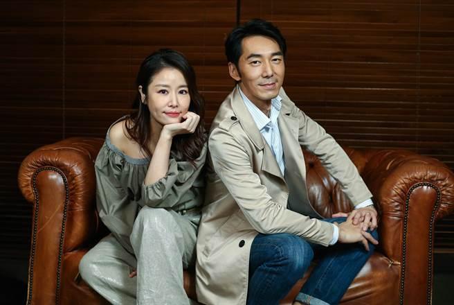 林心如(左)、李李仁為新片接受專訪。(粘耿豪攝)