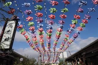鹿港桂花巷藝術村彩色風車海來了 紅綠藍紫油桐花紋的風車1200個迎新年