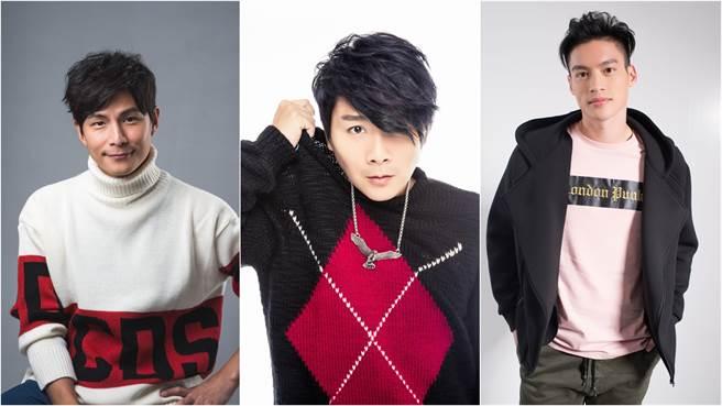 「亞州第一天團」5566跨年開場秀舞技,孫協志(左起)、王仁甫、許孟哲。(圖/中天電視提供)