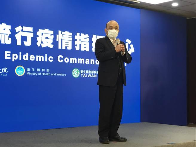 今是新冠肺炎防疫一周年,行政院長蘇貞昌表示,我國防疫成功,都是因為我們比大陸民主自由。(圖/記者鄭郁臻攝影)