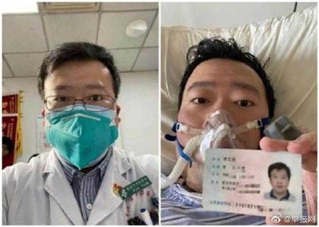 李文亮一年前的12月30日首次在網路群組中對新冠肺炎示警,因此被稱為「吹哨人」,但他本人卻在一個多月後死於新冠肺炎。(圖/微博)