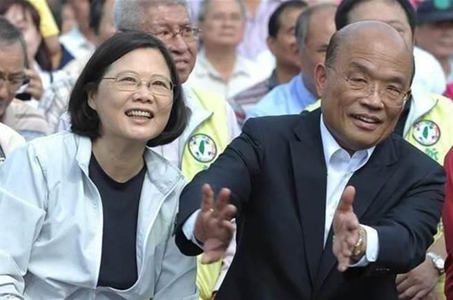 蔡英文总统(左)、行政院长苏贞昌(右)。(图/中时资料照)