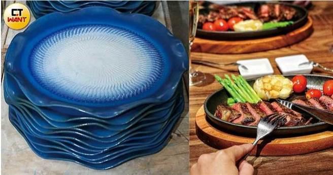 王品集團旗下品牌使用的餐盤,多為五福窯生產。(圖/馬景平攝、翻攝自王品臉書)