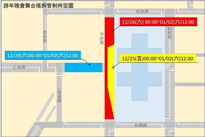 跨年晚會舞台拆卸,將實施3階段交通管制。(圖/台北市政府提供)