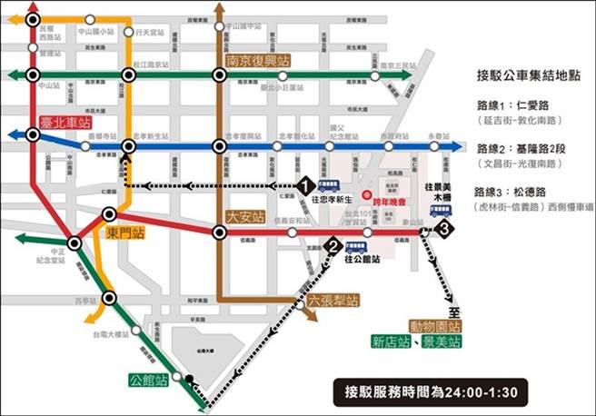 北市府提供跨年散場專車路線。(圖/台北市政府提供)