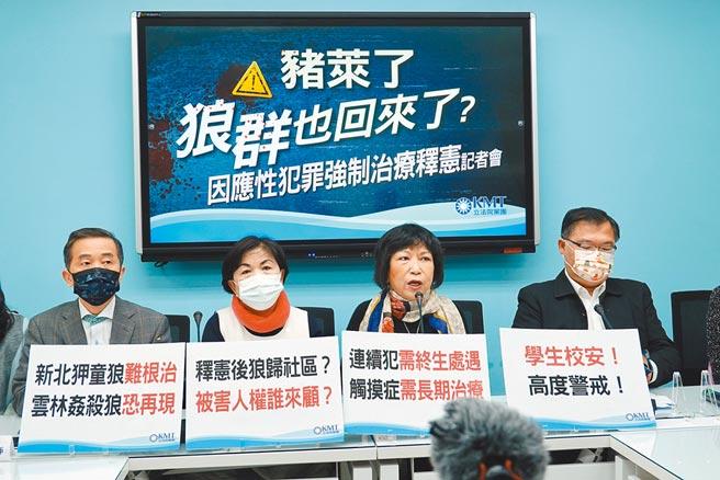 國民黨舉行「豬萊了,狼群也回來了?因應性犯罪強制治療釋憲」記者會,呼籲政府正視狼歸社區後,校園與學童的安全問題。(姚志平攝)