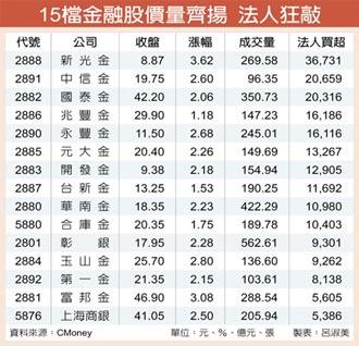 15檔金融擺尾 助攻台股創高