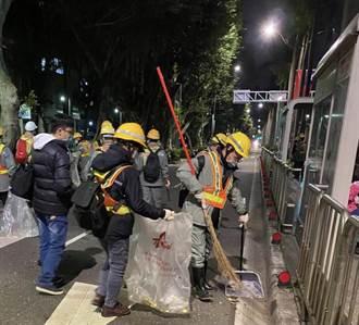 防堵疫情禁飲食台北跨年垃圾量驟減 環保局加強周邊消毒