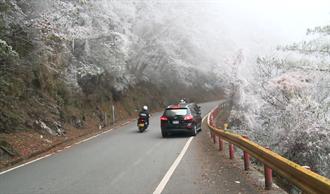 元旦假期合歡山急凍 民眾驚嘆冰雪世界