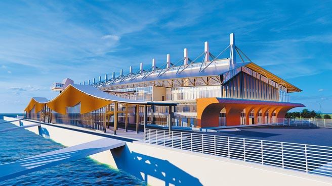 「金門水頭港大型旅客服務中心新建工程」將於農曆年後復工,預定2024年1月竣工。(金門縣港務處提供/李金生金門傳真)
