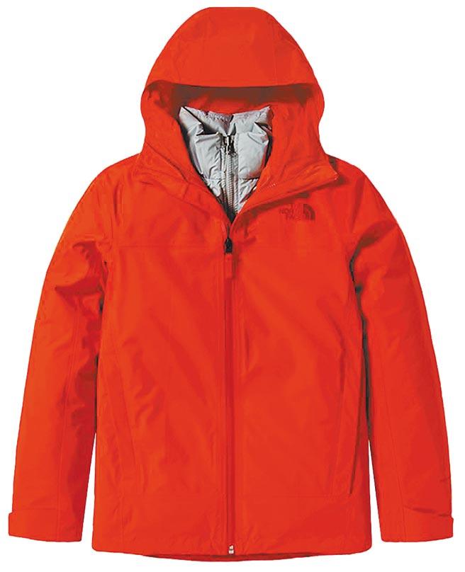 京站的The North Face女款紅灰色防水透氣連帽3合1外套,原價1萬9800元,特價1萬5840元。(京站提供)