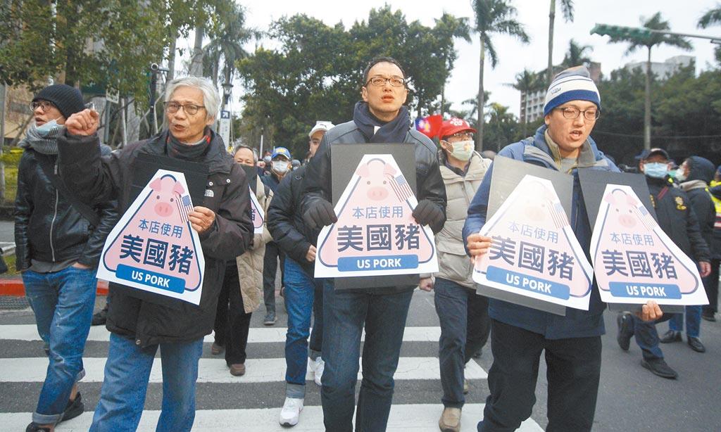 民間反瘦肉精毒豬聯盟1日舉辦元旦升旗活動,成員隨後走向立法院,準備將反萊豬標誌貼在大門口。(張鎧乙攝)