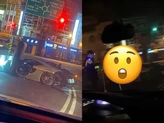 千萬麥拉倫超跑直撞台南東門圓環 23歲美籍嫩男載妹夜遊慘爆