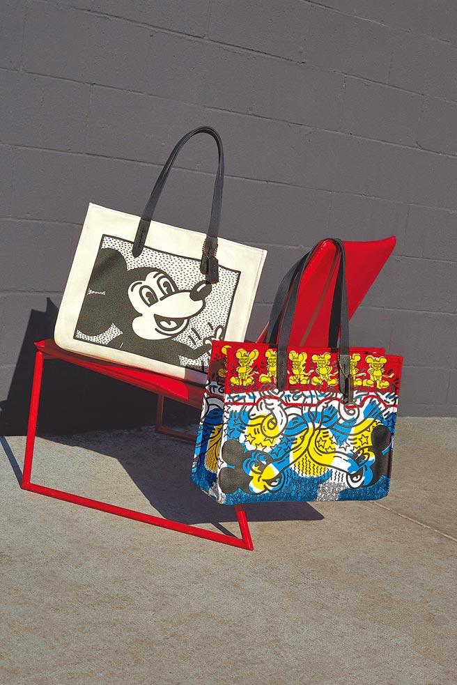 Coach與Keith Haring合作,Andy Mouse再度躍上Coach包款。(Coach提供)