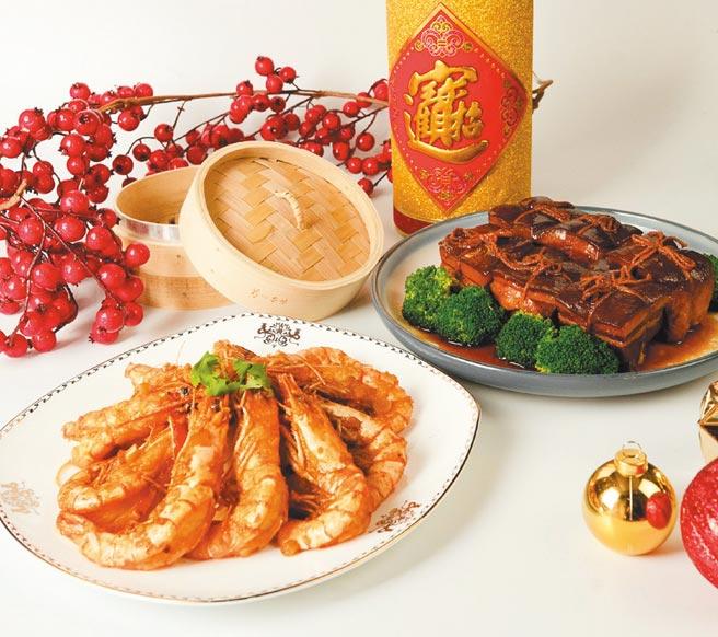 宜蘭綠舞飯店主推東坡肉及檸檬蝦等兩款外帶年菜,每份均為售價999元。圖/業者提供