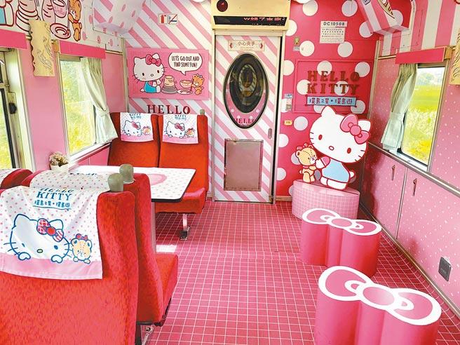 「環島之星Hello Kitty彩繪列車」車廂內繽紛可愛。(易遊網提供)