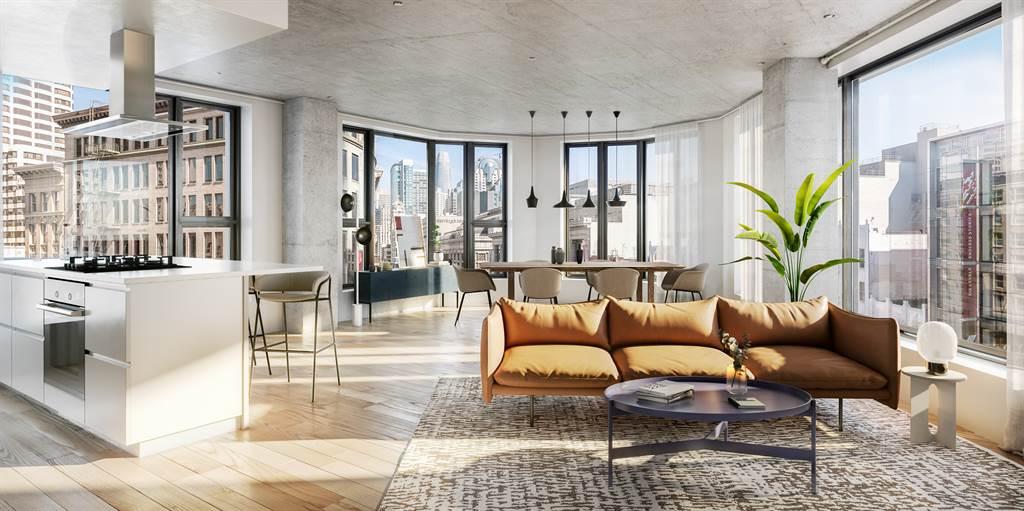 室內以清水混擬土、削光黑金屬、磁磚與石材,鋪陳絕對現代、帶有都會風尚的空間氛圍。(業者提供)