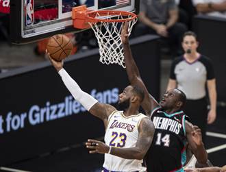 NBA》詹皇末節爆發摘13分 湖人退熊3連勝