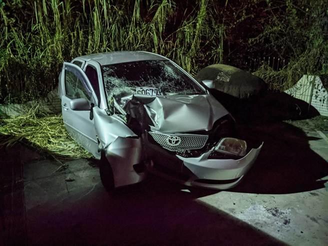 元旦當天在台南玉井發生的自撞車禍,命危的邱女昨晚傷重不治,再添1死(莊曜聰攝)