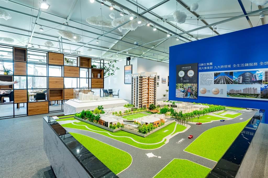 三芝「銀養樂齡 複合園區」接待中心模型。(業者提供)