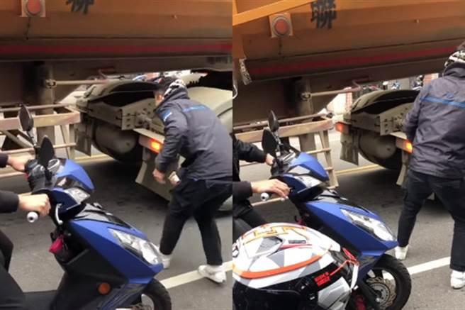 馬路上挑戰鑽進砂石車底 屁孩PO玩命影片 遭灌爆:極度低能(圖片截自影片)