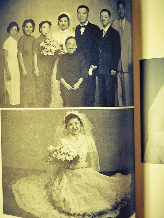 1953年10月10日,任顯群不顧一切與顧正秋結婚。上為與親人合照;前中係任母徐寶初。下為顧正秋婚紗照。