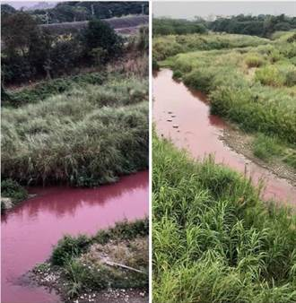雲林驚見「美麗紅色河流」 空拍機拍到源頭居民傻眼