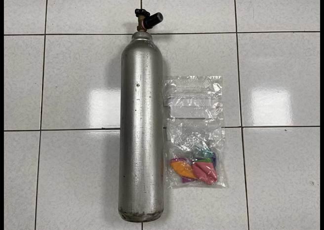 鋼瓶則送往環保局環檢中心檢驗檢測,確定工業鋼瓶內氣體為笑氣。(北市環保局提供)
