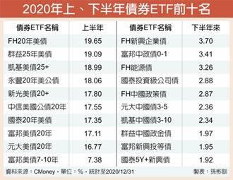 美債ETF、大陸政金債 去年表現亮眼