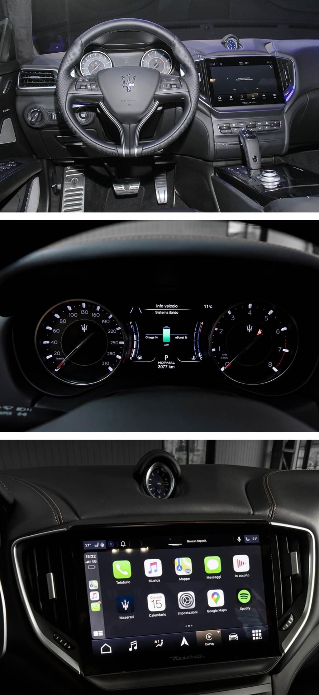 新世代的MIA多媒體系統(Maserati Intelligent Assistant)不僅擁有嶄新的中文介面設計,HD觸控螢幕的尺寸也從原本的8.4吋升級至10.1吋、比例也由傳統的4:3轉化成更符合當代美學的16:10,展現出近乎無邊框設計的中央控制系統,為Maserati新世代車款帶來更現代的科技配備。其基於Android Auto等軟體提供了創新的用戶體驗,完全可定制的駕駛者的個人喜好來進行數位輸入。