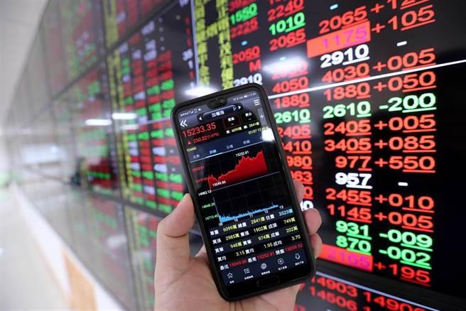 台股7日持續上攻,號子內的螢幕多數個股都是呈現代表漲勢的紅色。(黃世麒攝)