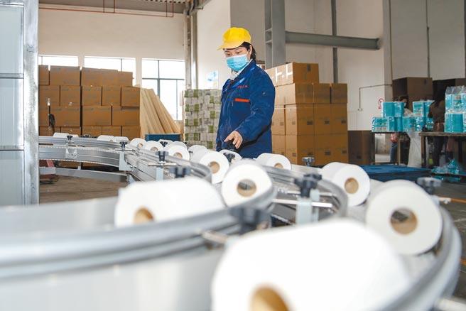 貴州竹運紙業有限公司的工人在檢查衛生紙生產流水線的品質。(中新社資料照片)