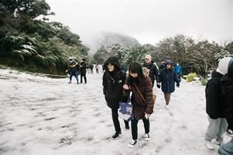 陽明山初雪來了!二子坪人車擠爆
