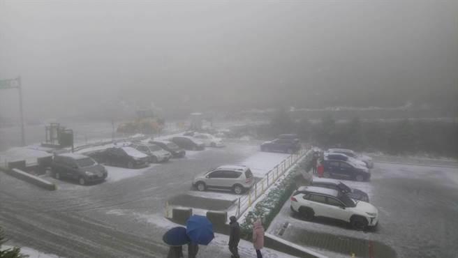 地溫灌破冰點,加上水氣充裕,合歡山莊停車場覆蓋靄靄白雪。(東勢林管處提供/王文吉台中傳真)