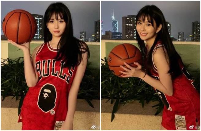 沈月Cosplay灌籃高手女主角赤木晴子,神還原模樣讓粉絲驚呼不已。(圖/沈月微博)