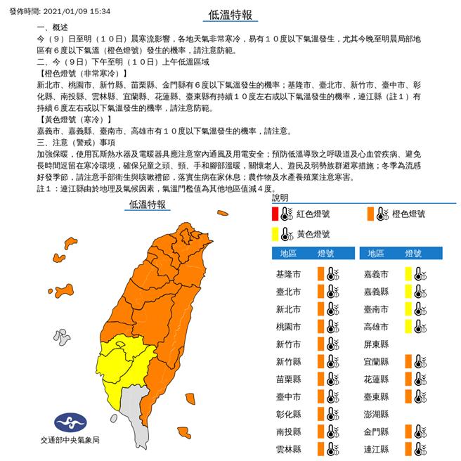 氣象局低溫特報,同樣屏東成為台灣本島唯一一個例外名單。(圖/氣象局)